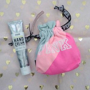 NWT PINK Hand Cream & Canvas Drawstring Bag